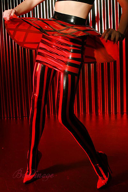Vertical Striped Latex Stockings