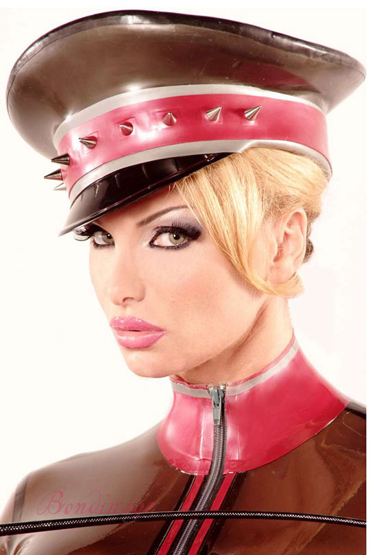 Studded Latex Military Cap