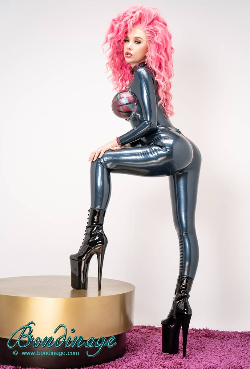 Latex Catsuit With Inflatable Boobs Bondinage Fetish